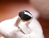European style fashion personality transparent atmosphere square black synthetic gems stones Silver Charm Ring B8