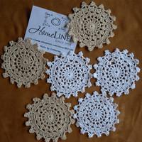 "24Pcs/lot  Wholesale Hand made Lace Crochet Cup Mat, Cotton Ecru Doily ,Cup Pad,Coaster ,Embroidery Wedding Decor  10cm(3.94"")"
