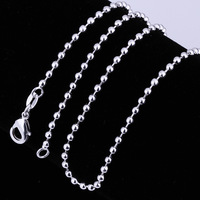 Free shipping 2MM Chain four length choice Bead chain Necklace Chain for necklace pendants 925 sterling