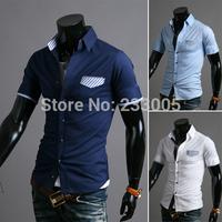 Hot Sales ! 2015 Fashion Brand Boss Men Striped Patchwork Designer Slim Fit Short Sleeve Casual Camisas Social Masculino Shirts