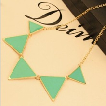 Free shipping $10 2013 New Fashion Punk Pink Green Blue Oil Triangle Multicolour Necklace  Jewelry N576 24g
