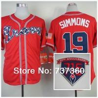 cheap 2014 new cheap free shipp.men's Atlanta Braves 19# Andrelton Simmons red cool base baseball Jersey / shirt