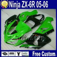 Free Seat cowl freeship fairings set for ZX6R 2005 2006 Kawasaki Ninja ZX-6R 636 05 06 green black fairing kit ZX 6R with 7 gift