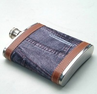 7oz 198ml Hip Flask 304 Stainless Steel Outoor Water Bottle Brown Leather Jeans Style Flask