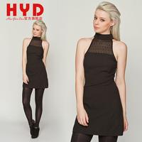 2014 spring black racerback one-piece dress turtleneck strapless lace patchwork dress