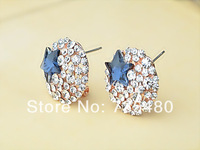 Free shipping  new arrival 2014 fashion star crystal  stud earrings wholesale 12pcs/lot
