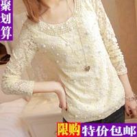 Women Blouses Kimono Seconds Kill Full O-neck Solid Shirt 2014 Spring Medium-long Plus Size Clothing Mm Long-sleeve Basic Female
