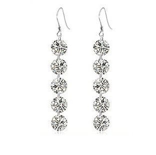 Hot Sale Wholesale Genuine 100 Real Pure 925 Sterling Silver Beautiful 5 crystals drop earring Fine