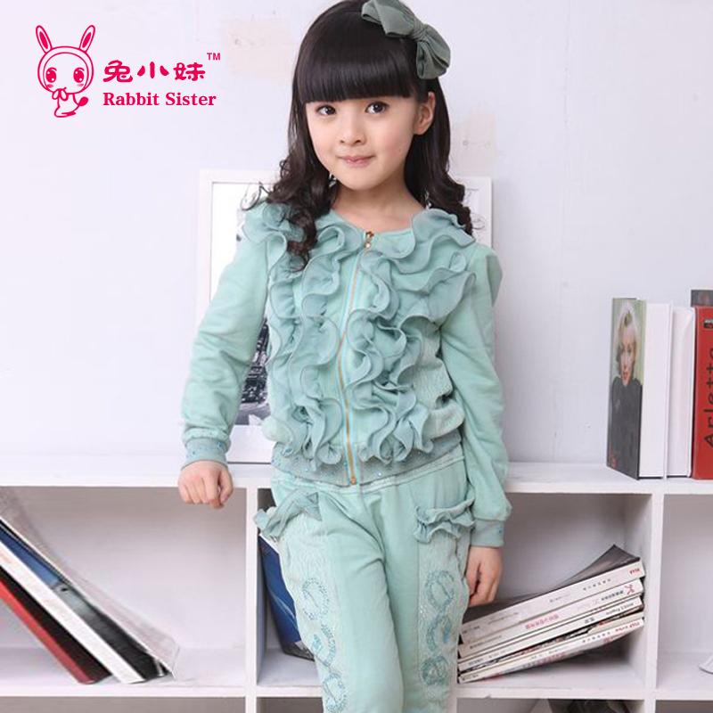 Frozen Hot Sale New Girls Floral Active Square Collar Sleeveless Rabbit Female Child 2014 Spring Cardigan Sportswear Set Sports(China (Mainland))