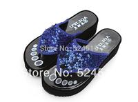 new 2014 summer shoes Sequins flip-flops women leather shoes platform sandals women rubber flats women shoes,3 color free ship