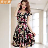 2014 plus size clothing V-neck print short-sleeve dress beach dress skirt