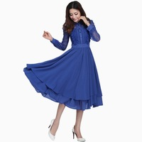 New 2014 chiffon dress large size was thin long sleeve chiffon dress hollow lace dress Spring 2014 women summer dresses M-3XL