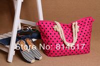 2014 new arrive hot sale Dot canvas bag woman's cross body handbag cheap online free shipping drop shipping