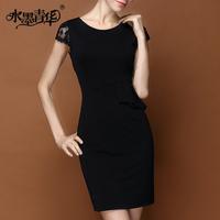 Ink 2014 women's elegant formal slim black lace disc-floret short-sleeve dress