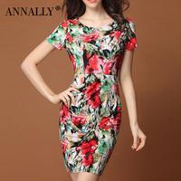 Annally2014 women's elegant o-neck slim ink knitted print short-sleeve dress