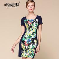 Ink 2014 female summer ol elegant formal color block patchwork print short-sleeve dress slim