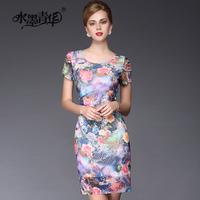 Ink 2014 summer elegant o-neck slim ink gauze print short-sleeve dress