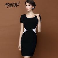 Ink 2014 summer formal elegant square collar slim black and white colorant match short-sleeve dress