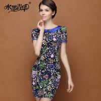 Ink 2014 summer women's elegant slim color block peter pan collar print lace one-piece dress