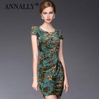 Annally2014 women's elegant formal ruffle slim fancy gold velvet short-sleeve dress