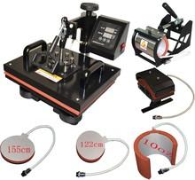 6 in 1 combo mug heat sublimation printing machine t-shirts 38*38cm heat press machine 110V 220V free shipping