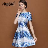 Ink 2014 summer elegant polyester cotton splash-ink print slim expansion bottom one-piece dress short-sleeve
