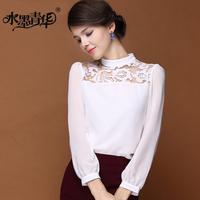 Ink 2014 spring elegant formal lace cutout lantern white long-sleeve chiffon shirt female shirt top
