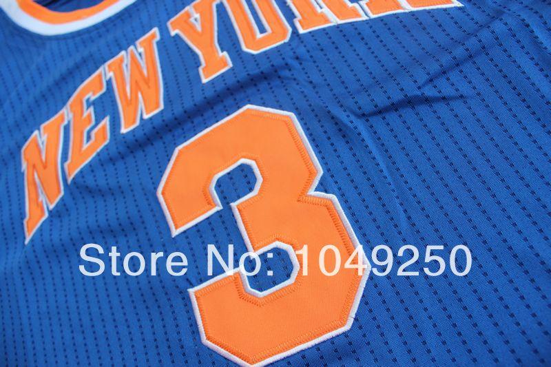 Free Shipping, Retail& Wholesales New York NO.3 John Starks blue color embroidery retro style Basketball jerseys(China (Mainland))