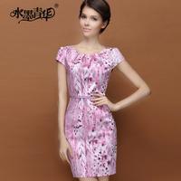 Ink 2014 summer elegant formal slim o-neck cotton polyester pumping print short-sleeve dress