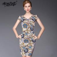 Ink 2014 summer women's elegant formal V-neck slim knitted print short-sleeve dress