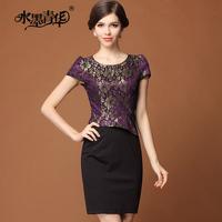 Ink 2014 summer elegant formal o-neck slim bronzier patchwork lace short-sleeve dress