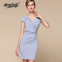 Ink 2014 female summer elegant formal ruffle V-neck slim solid color short-sleeve dress