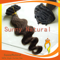 Dark brown Body wave Indian Hair Clip in Extension -- Sunny Natural