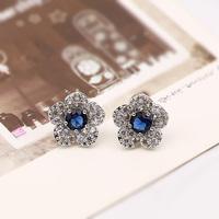 Korean bride flower crystal stud earring personalized earrings female accessories