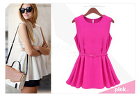 Summer fashion loose women's 2014 ol knitted chiffon pleated short design little shorter one-piece dress