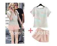 Free Shipping mixed size fashion Short-sleeved T-Shirt+shorts Suit