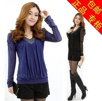 2014 spring mm loose plus size clothing slim lace gauze basic shirt t-shirt female long-sleeve