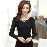 Wufu 2014 spring and autumn slim o-neck long-sleeve basic top lace shirt basic shirt female