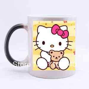 free shipping gift tofriend Custom Cartoon Characters Cute Hello Kitty ceramic morphing mugs color changing 11 Oz Cups magic mug(China (Mainland))