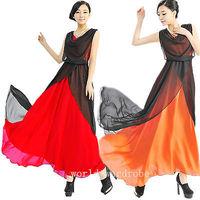 2014 New Bohemian V Neck Chiffon Cocktail Long Asymmetrical Patry Dress Sundress
