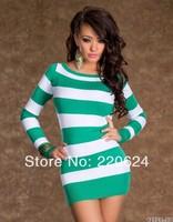 EAST KNITTING N13 2014 Sexy brand tops women fashion long sleeve striped dress plus size XXL free shipping