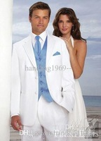 New 2014 New Custom Design Two Buttons White Groom Tuxedos Notch Lapel Best Man Suits Groomsmen Men Wedding Suits (Jacket+Pants+