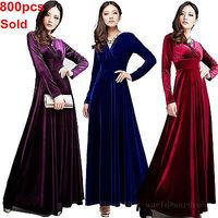 2013 New Autumn Winter V Neck Gorgeous shimmer velvet stretchy long sleeve dress