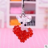 2014 Hot new products wholesale Creative gift  4mm glass bead CHIHUAHUA HEARTmobile phone accessories