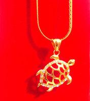 18k YELLOW GOLD FILLED TORTOISE CZ SNAKE CHAIN SEA TURTLE HONU Charm PENDANT HOT