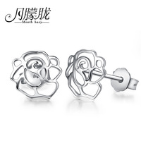 Lo yin Cutout rose 925 pure silver stud earring female fashion accessories small earring gift anti-allergic