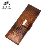 Women's multi card holder genuine leather card holder large capacity cowhide card holder card stock long design crocodile