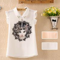 blusas femininas women spring 2014 women's sleeveless chiffon cartoon cat  print chiffon shirt  women blouses body work wear