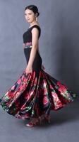 Dance modern dance vest o-neck expansion bottom belt practice skirt one-piece dress