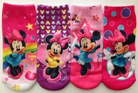 2pair/lot 2014 new summer kids cotton socks Cute Children's socks baby cartoon MINNIE sock free shipping retail high quality